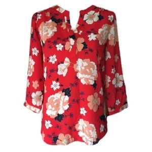 Katherine Barclay Floral Long Sleeve Blouse Top